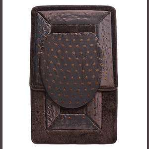 BROWN 3 Piece Bathroom RugMat SETBath Mat,Contour Rug,Toilet Seat