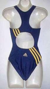 Adidas Women Navy Blue/Yellow Racerback Athletic Swimsuit 4
