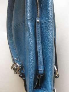 NWT Coach 17165 Ocean Blue Leather Brooke Silver Handbag |