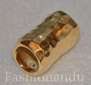 Sebbag SSD Sterling silver Gold Coated Bead Slide for Leather Necklace