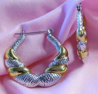 sterling silver gold plated shrimp style hoop earrings