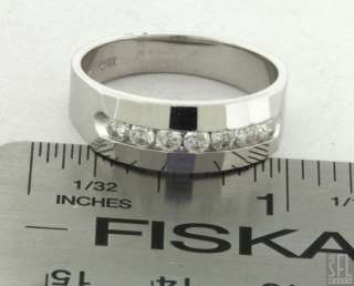 14K WHITE GOLD SIGNED 0.62CT DIAMOND MENS BAND RING SIZE 9.75