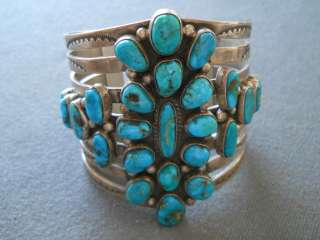 wide turquoise sterling silver cluster bracelet 127 grams signed