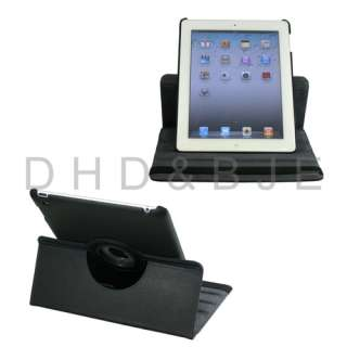 ° Rotating Magnetic Leather Case Smart Cover With Swivel Stand Black