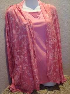 New Womens Sag Harbor Tank Top Cardigan Cover Pink 1X