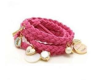 New Fashion Jewelry Multi Pendants String Bracelet Hot Pink