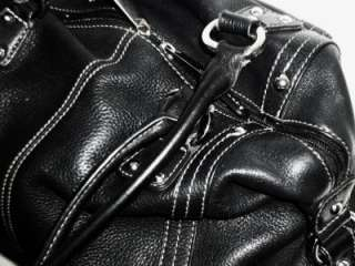 TIGNANELLO Supple Black Slouchy Leather Satchel Shoulder Bag Tote