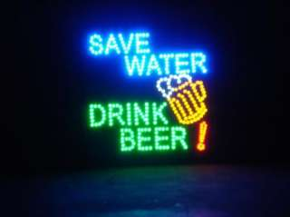 19 x 19 Large Save Water, Drink Beer Motion LED Sign Man Cave Decor