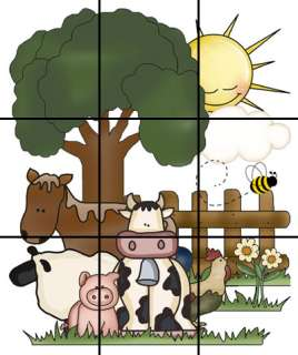 FARM BARNYARD ANIMAL BARN COW HORSE PIG SHEEP NURSERY WALL MURAL