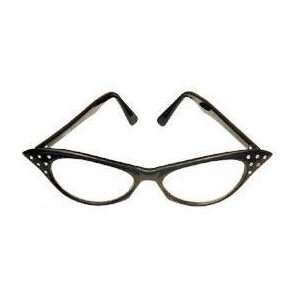 Black with Clear Lens 50s Rhinestone Costume Glasses Toys & Games
