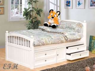 EMILY WHITE FINISH WOOD TWIN BED W/ UNDER BED DRAWERS