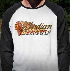 Indian Motorcycle Dark Horse Raglan 3/4 Sleeve T Shirt   White