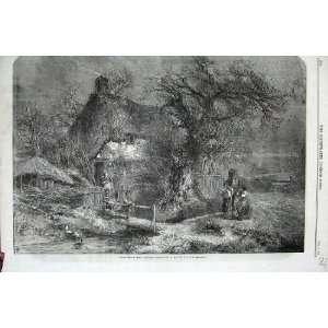 1859 Christmas Cottage Family House Birkett Foster Art