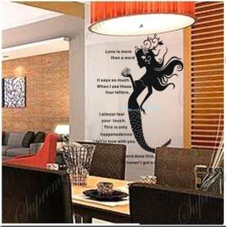 Mermaid  37 inch tall   removable vinyl art wall decals
