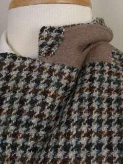 Harris Tweed Vtg Vintage Sport Coat Gray Black Brown Houndstooth