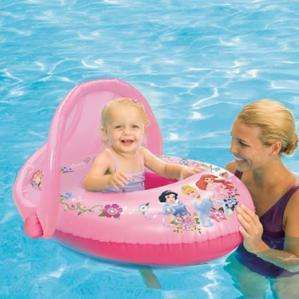 Disney Princess Pink Inflatable Swimming Pool Baby Float with Sun