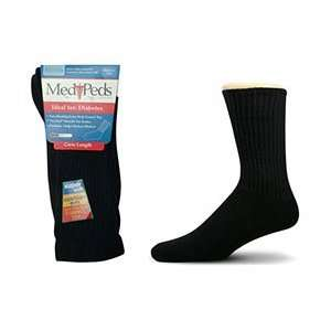 Medipeds Diabetic Crew Sock   Large   Black   3 Pairs