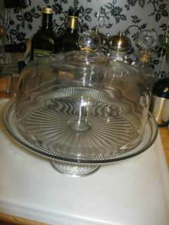 CRYSTAL GLASS COVERED PEDESTAL CAKE PLATE SAVER OR LARGE SERVING BOWL