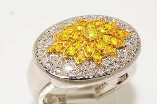 70CT ROUND CUT YELLOW & WHITE DIAMOND RING SIZE 7