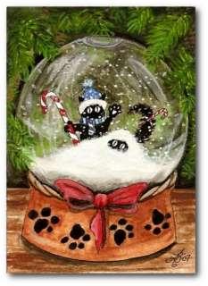 Boo Cosmo Black Cats Christmas Snow Globe FuN ACEO LE Print