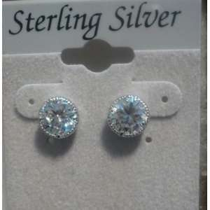 Sterling Silver Fine PLatinum Plate Clear Cubic Zirconia Stud Earrings
