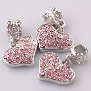 10/20PCS Czech Crystal Heart Dangle European Charm Pendant Beads Fit