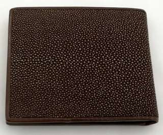 BROWN POLISHED GENUINE STINGRAY SKIN LEATHER MENS WALLET