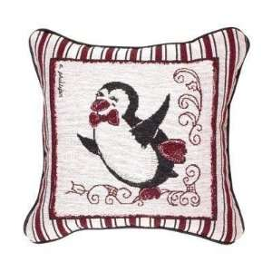 Snow Penguins Holiday Tapestry Toss Pillow (Dancer