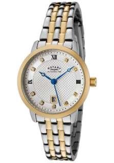 Rotary Watch LB42826/41 Womens White Swarovski Crystal Silver