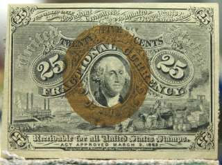 25 cent 1863 S 2nd issue uncirculated George Washington Fractional