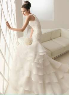 organza short sleeve empire line Wedding dress bridal gown Sz custom