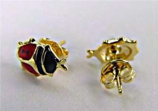 Gold 18k GF Girl Baby Earrings Ladybug Red Push Back