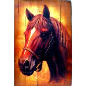 Lodge Cabin Rustic Decor Horse Head Bust Plank Picture
