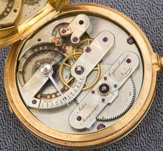 LARGE HEAVY 18K SOLID GOLD JULES JURGENSEN KEYWIND POCKET WATCH TICKS