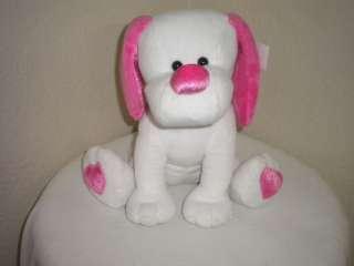 Dan Dee Plush White/Pink Puppy Dog Heart Feet Valentine
