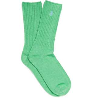 Accessories  Socks  Casual socks  Green Ribbed Logo