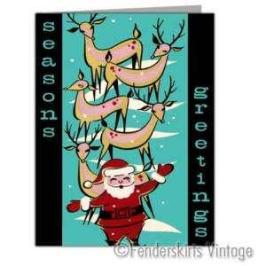 Vintage Repro 1950s Santas Reindeer Christmas Cards