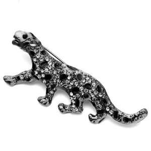Jewelry Leopard Gray Rhinestone Crystal Black Dots Animal Brooches