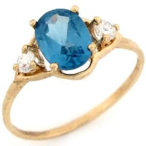 Gold Oval Synthetic Blue Zircon December Birthstone CZ Ring Jewelry
