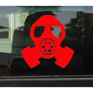 GAS MASK HEAD STYLE #2   5 RED   Vinyl Decal WINDOW Sticker