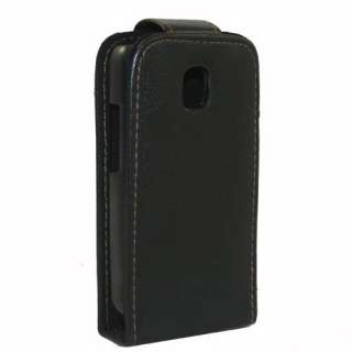 Black Flip Leather Case Cover For LG P500 Optimus One