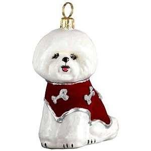 Bichon Frise Blown Glass Christmas Ornament