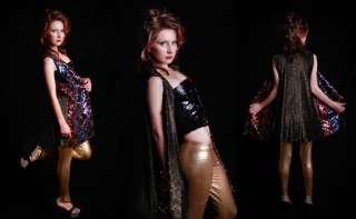 COLORBLOCK SEQUIN METALLIC Slouchy Hippie Trophy Dress top Jacket SML
