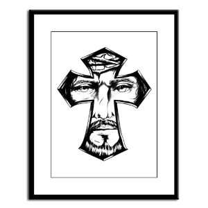 Large Framed Print Jesus Christ in Cross