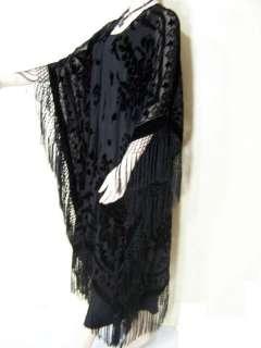 Fringe Jacket Kimono Opera Coat Black Burnout Velvet Maya NEW