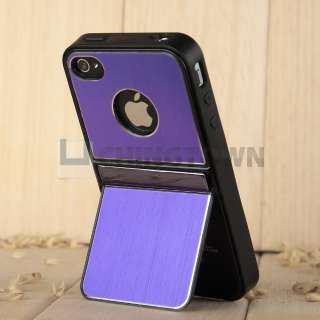 Pen+Black Aluminum TPU Stand Hard Case Cover With Chrome For iPhone 4