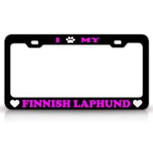Animal High Quality STEEL /METAL Auto License Plate Frame, Black/Pink