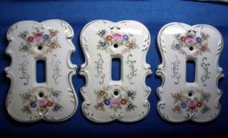 Lot ~Shabby Vintage Porcelain Light Switch Covers Japan