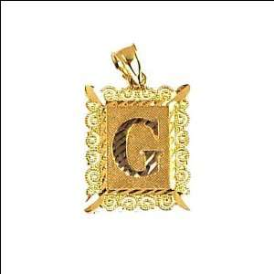 14k Yellow Gold, Initial Letter G Pendant Charm 16mm Wide