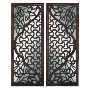 Set of Two Finely Carved Wood and Mirror Wall Art Panels